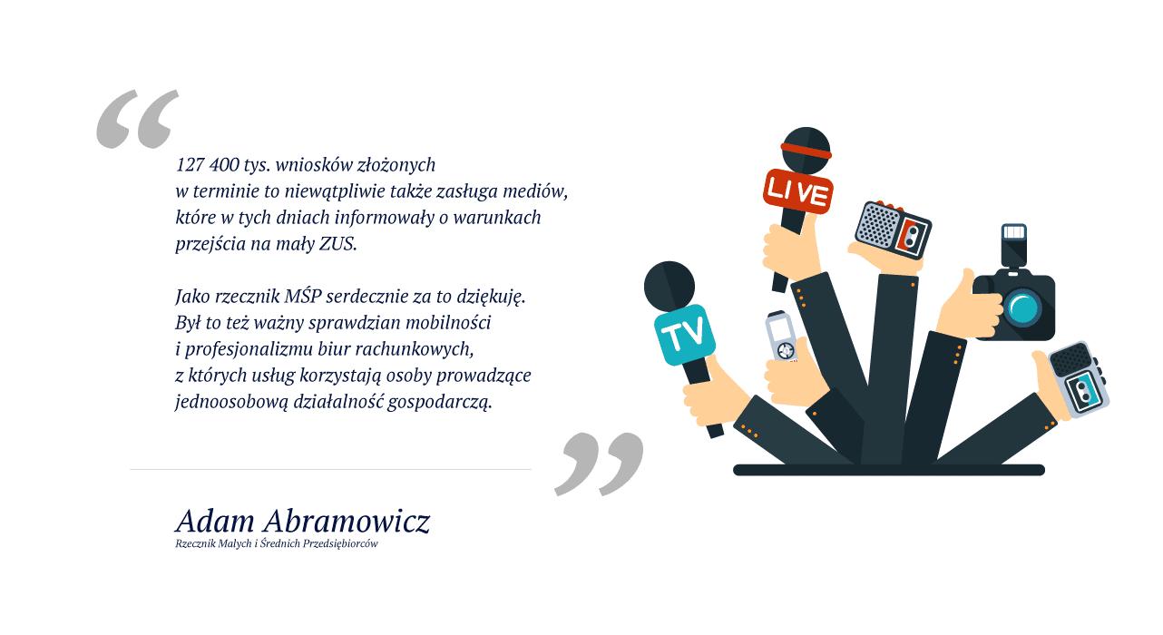 Adam Abramowicz - Podziękowanie za nagłośnienie akcji Mały ZUS