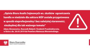List Rzecznika MŚP do Premiera ws. opinii BAS o wpływie ograniczenia handlu w niedziele na sektor MŚP